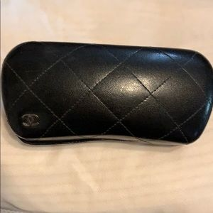 Chanel black quilted hard glasses case